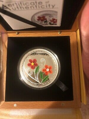2016 cook islands quilling art flower Silver Coin.