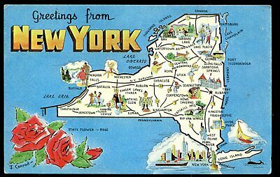 New York City Map Of Attractions.1950s Map Attractions New York City Postcard Manhattan Colorpicture