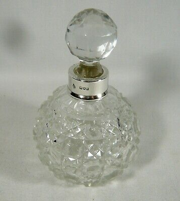 Antique 1899 STERLING COLLAR ABP Harvard Cut CRYSTAL Scent PERFUME BOTTLE