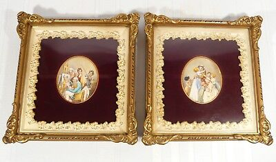 "2 VERY FINE Family Antique Miniature Paintings after ARTIST BOILLY  3 5/8"" x 3"""