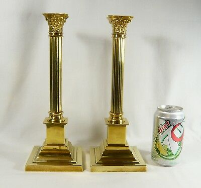 "Antique Pair 12"" CANDLESTICKS CORINTHIAN  Heavy  BRASS CLASSICAL Column c1880's"