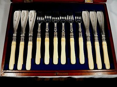 Antique Finely Carved Handle Victorian WALKER & HALL Silverplate  24 pc FISH SET