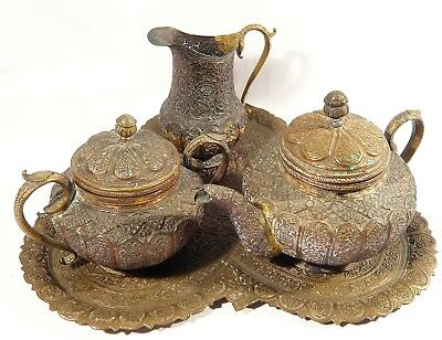 Kashmir Indian Carved Repousse TEA SET SNAKE HANDLE Sugar Creamer Teapot & TRAY