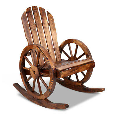 Wooden Timber Single Seater Outdoor Wagon Rocking Chair Cowboy Wheel Park Seat