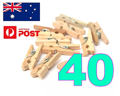 50 x MINI WOOD WOODEN PEGS MIXED QTY 30MM NATURAL CRAFT WEDDING CLOTHES PIN LINE