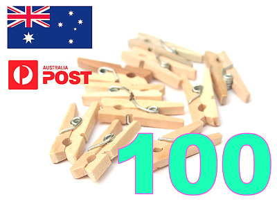 100 Mini Wood Wooden Pegs Mixed Qty 30Mm Natural Craft Wedding Clothes Baby