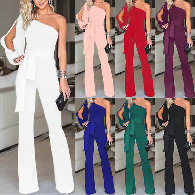 Women's One Shoulder Lace Up Romper Evening Party Wide Leg Trousers Jumpsuit