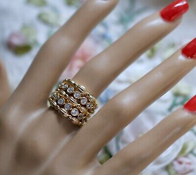 Antique Jewellery Gold Ring White Sapphires Vintage Deco Dress Jewelry size R