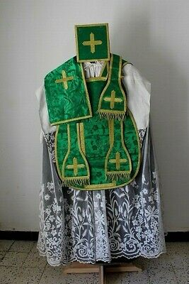 Chasuble Roman Priest Complete in Silk Damask Green Embroidery Cornelli 19th