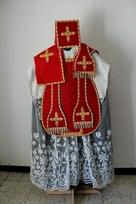 Chasuble Roman Priest Complete in Silk Damask Red Embroidery Cornelli 19th