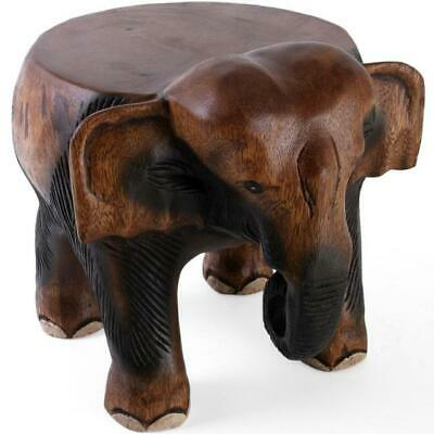 New Hand Carved Acacia Wood Elephant Stool Table Side Wooden Lamp Plant Stand