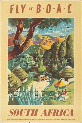 BOAC SOUTH AFRICA Rbvn-POSTER/REPRODUCTION A3+(*) d1 AFFICHE VINTAGE