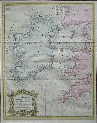 A maritime map of Ireland & St. Georges Channel plus West coast of the UK c1747