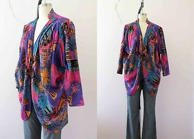 80s Bright Abstract Print Viscose Cocoon Blouse Medium Buy 3+items for FREE Post