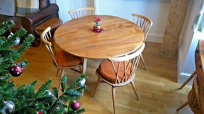 A set of 6 retro Pale blonde Ercol 376 Windsor Candlestick Lattice dining chairs
