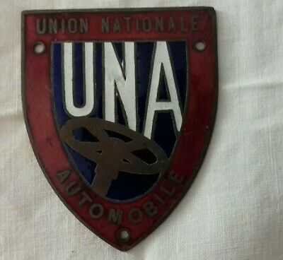 Plaque metal Badge De Calandre  UNA UNION NATIONALE AUTOMOBILE UNA collection