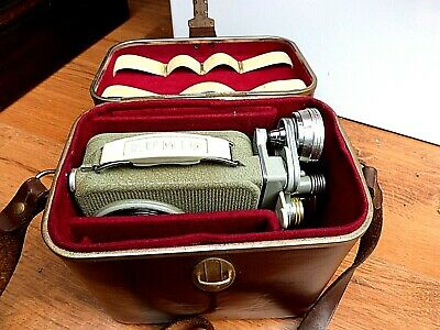 1958 EUMIG C3R VINTAGE 8mm CINE MOVIE VIDEO CAMERA Green & leather Case