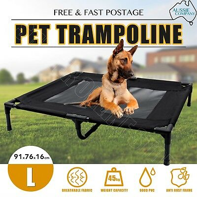 Pet Trampoline Bed Dog Puppy Cat Heavy Duty Frame Mesh Hammock Canvas Bed Large