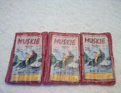 FIRECRACKER PACK LABEL LOT DEAL  MUSKIE  CRACKERS 16s   RARE ITEM'S 3 PACKS L@@K