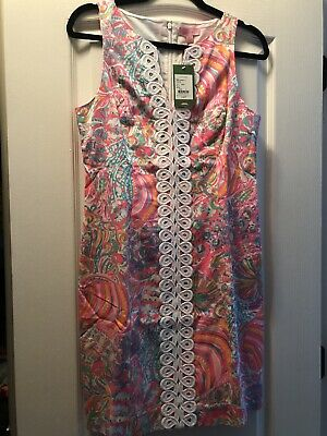 4fe84ccf785ae9 Lilly Pulitzer NWT $198 Ryder Shift Lace Front Dress Multi Swish Fish 4