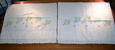 2 Vintage Hand Embroidered & Crocheted Pillow Cases Flowers & Leaves