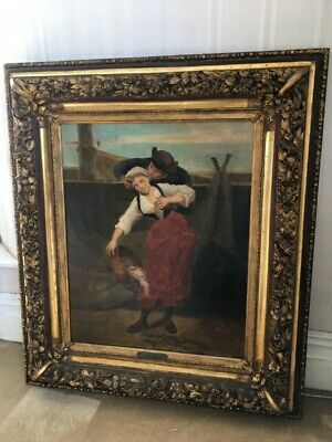 Large Antique Oil On Canvas Painting Signed Bourgon C1880 39 Inches By 34