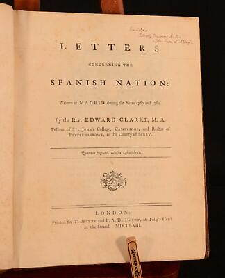 1763 Letters Concerning the Spanish Nation Written at Madrid First Ed E Clarke