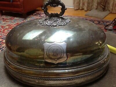 Antique Silver Plate Turkey Cover Food Dome English hallmarked mono coat of arms