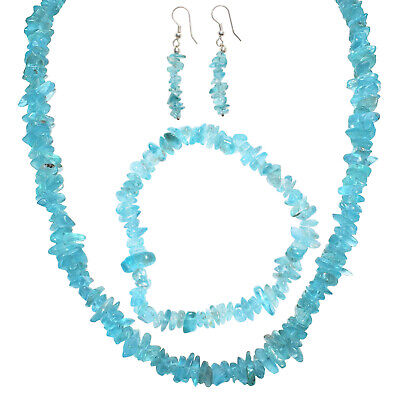 """Charged Blue Apatite Jewelry Set - 18"""" Necklace, 7"""" Bracelet, 2"""" Earrings"""
