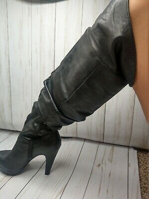 df167fa4d JESSICA SIMPSON TULIP Over The Knee Boots Slouchy Tall Brown Leather ...
