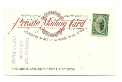Private mailing card, postal card, Summit of Pike's Peak, July 10, 1901