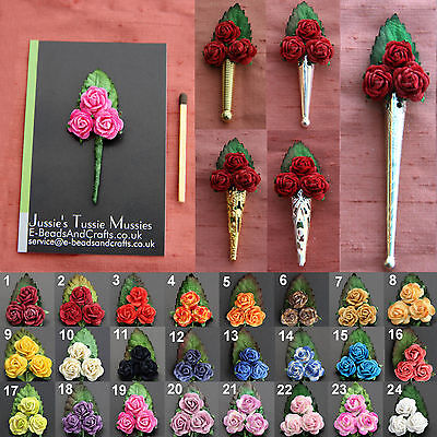 """1x """"3 ROSE BOUQUET"""": Tussie Mussie Flowers for """"Poirot"""" Lapel Pin/Brooch Vases"""