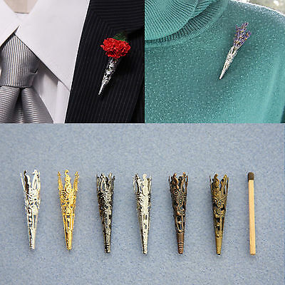 """40mm Filigree """"Poirot"""" Brooch/Lapel Pin Vase for Corsage*Buttonhole*Boutonniere"""