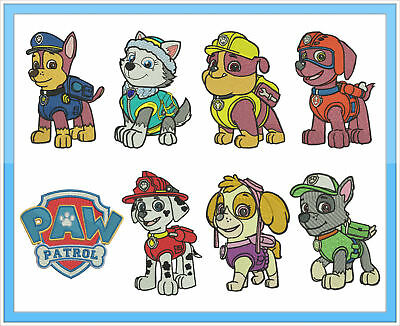 8 Paw Patrol  Embroidery Designs files cards pes jef format brother janome