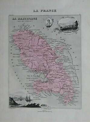 Beautiful map 'La Martinique' (Iles de Antilles) by Alexandre Vuillemin c1860