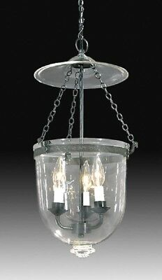 19th Century Hall Lantern Clear Antique Brass Bell Jar Ceiling Fixture Light MED