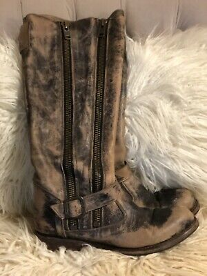 860a7c92fb2 BED STU TANGO -Tall Womens Dual Zip Moto Boots • Size 8 Brown • GORGEOUS