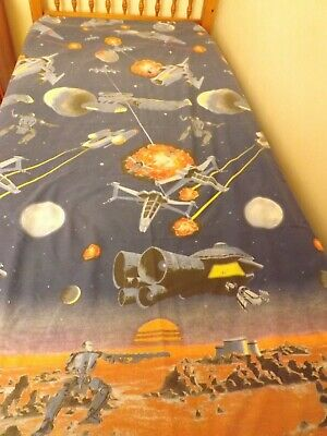 Spaceships, planets & Spacemen in Universe Single Duvet Cover + pillowcase