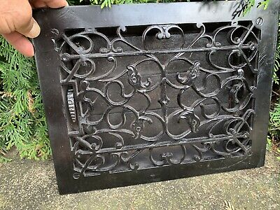 Large Heavy Victorian Style Cast Iron Heat Grate Louvered Architecture Garden #5