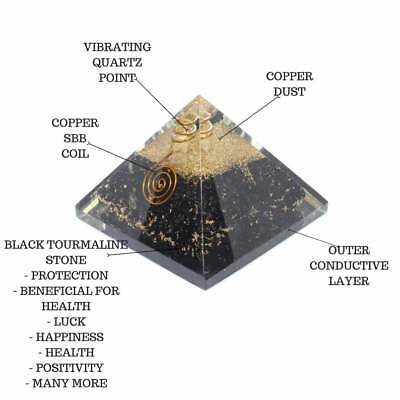 Black Tourmaline Orgone Pyramid With Crystal Point Protective Tool 50-55 mm