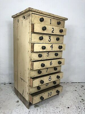 Antique Victorian Pine Painted Bank Of Drawers c.1880