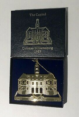 Colonial Williamsburg Foundation Ornament 1989 The Capital 24 KT Gold Finish