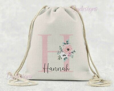 Personalised*PE*Gym*Dance*baby nappy*shopping gift drawstring bag*Initial & name