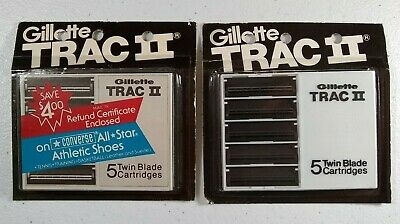 Vintage Gillette TRAC II Cartridge Razor Blades 2 Packs of 5 Twin Blade NOS New