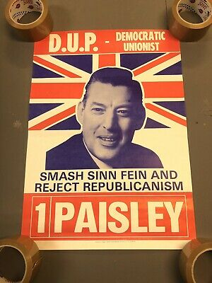 Early Vintage Ian Paisley DUP Unionist Ulster Election Political Poster