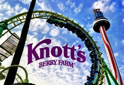 2 (TWO) Knott's Berry Farm Theme Park e-Tickets (for Child or Adult Admission)