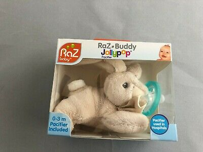 New Baby Pacifier RaZ Buddy Jollypop Pacifier Plush Bunny Rabbit Holder 0-3 Mos