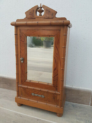 Antique French Faux Bamboo Miniature Doll Armoire Cabinet Salesman Sample