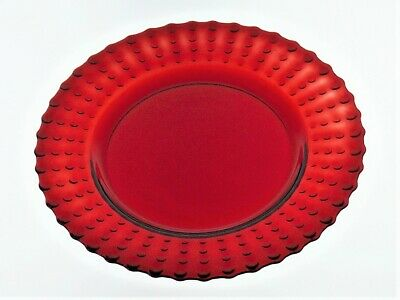 """Ruby Red 8½"""" Hobnail Plate W/scalloped Rim"""