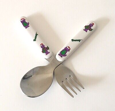 Lyons Group Barney Spoon and Fork Set Purple Dinosaur Christmas Vintage